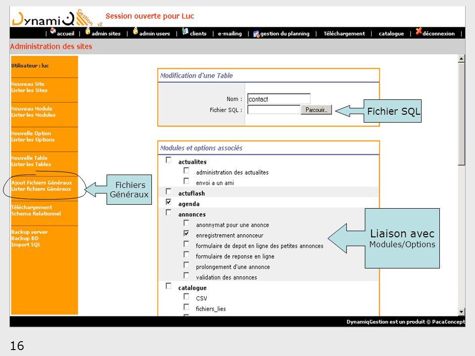 16 Liaison avec Modules/Options Fichier SQL Fichiers Généraux