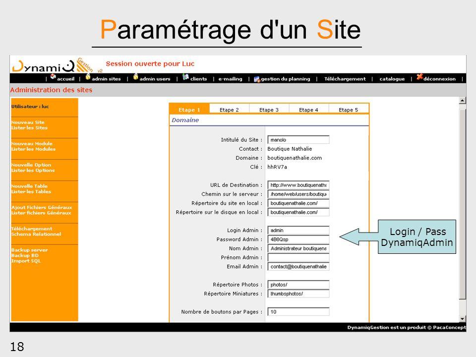 18 Paramétrage d'un Site Login / Pass DynamiqAdmin