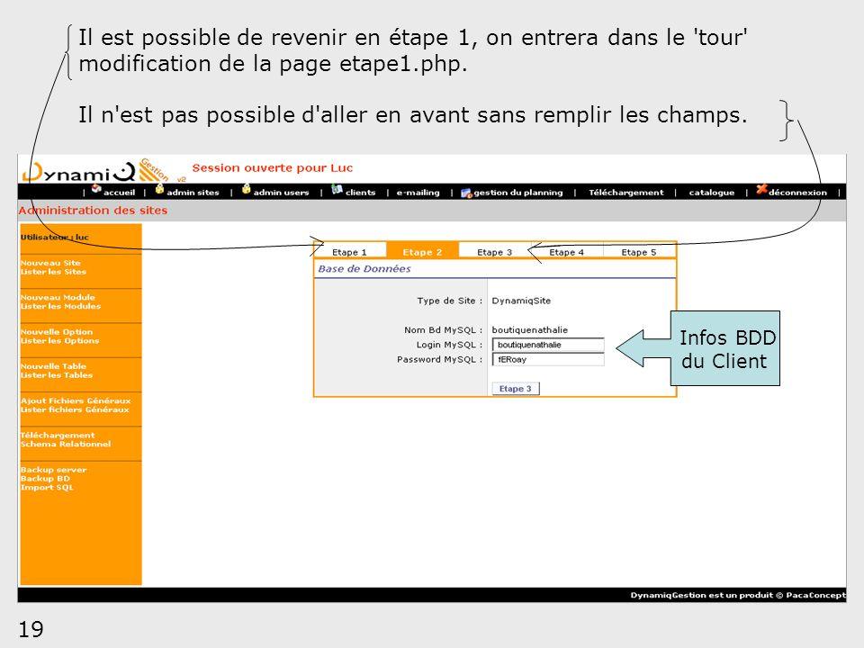 19 Il est possible de revenir en étape 1, on entrera dans le 'tour' modification de la page etape1.php. Il n'est pas possible d'aller en avant sans re