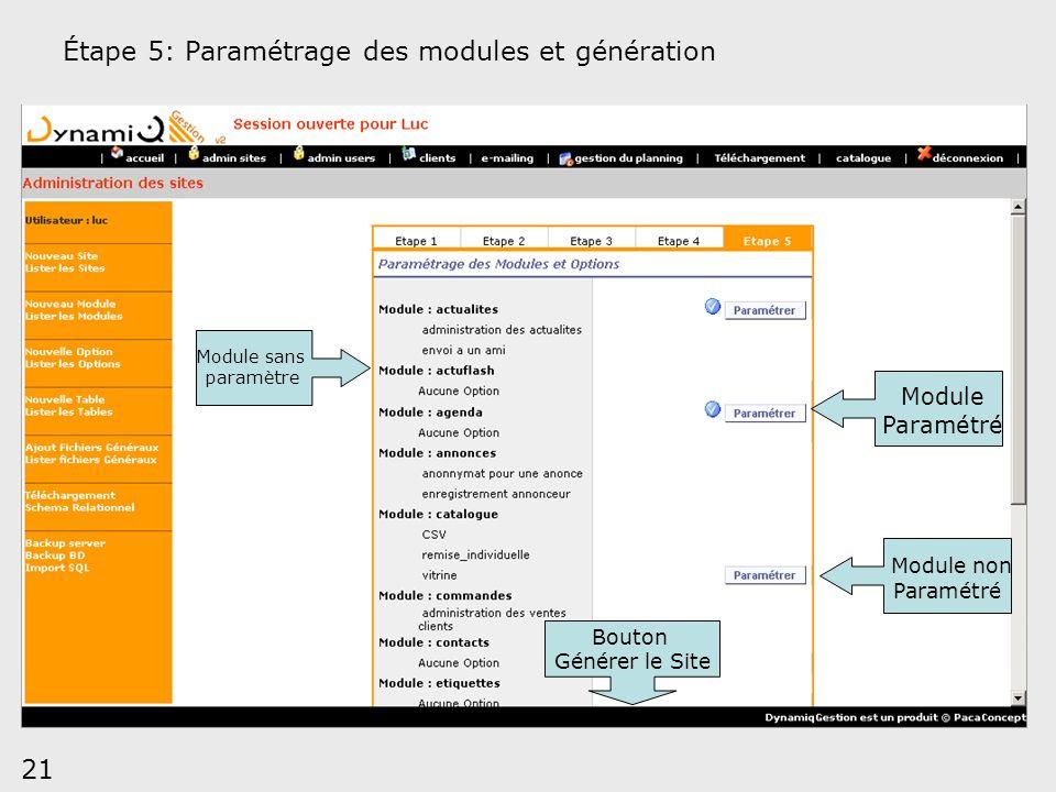 21 Module non Paramétré Module Paramétré Étape 5: Paramétrage des modules et génération Bouton Générer le Site Module sans paramètre