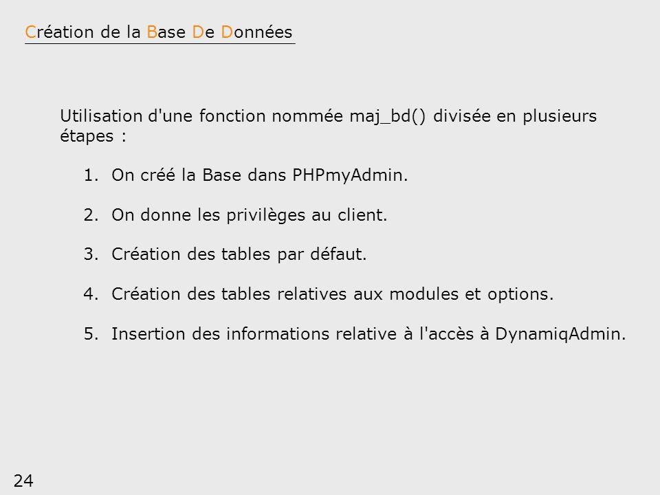 24 Création de la Base De Données Utilisation d'une fonction nommée maj_bd() divisée en plusieurs étapes : 1. On créé la Base dans PHPmyAdmin. 2. On d