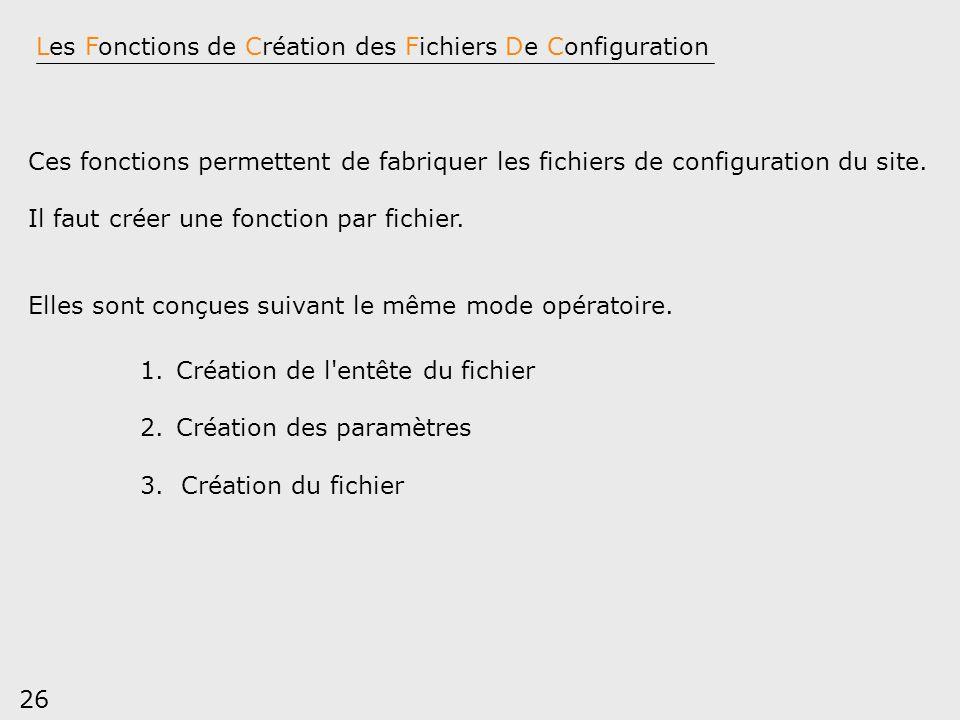 26 Les Fonctions de Création des Fichiers De Configuration Ces fonctions permettent de fabriquer les fichiers de configuration du site. Il faut créer