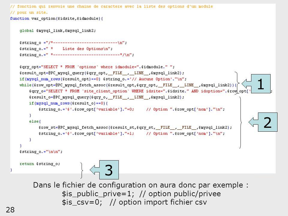 28 1 2 3 Dans le fichier de configuration on aura donc par exemple : $is_public_prive=1; // option public/privee $is_csv=0; // option import fichier c