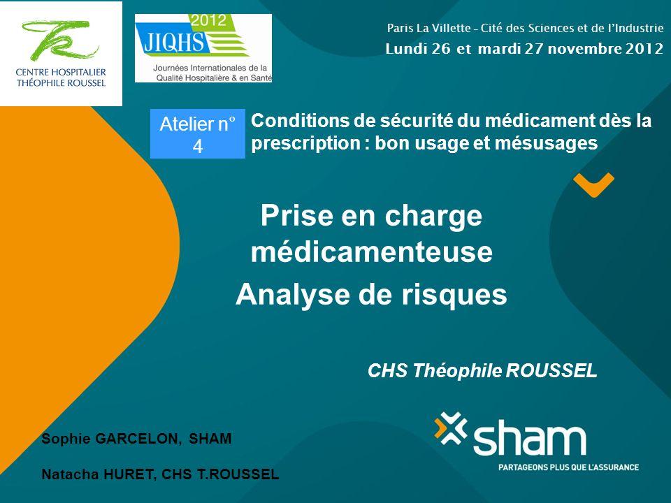 Prise en charge médicamenteuse Analyse de risques CHS Théophile ROUSSEL Paris La Villette - Cité des Sciences et de lIndustrie Lundi 26 et mardi 27 no