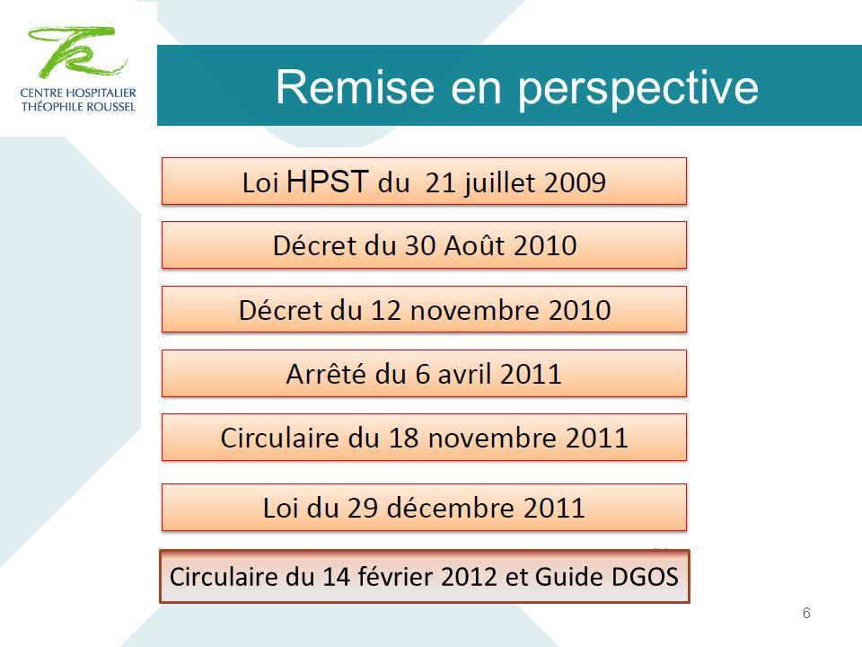 Remise en perspective 6 Circulaire du 14 février 2012 et Guide DGOS