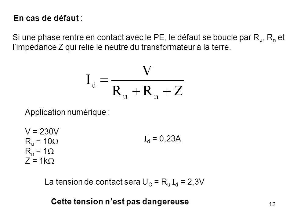 12 En cas de défaut : Si une phase rentre en contact avec le PE, le défaut se boucle par R u, R n et limpédance Z qui relie le neutre du transformateu