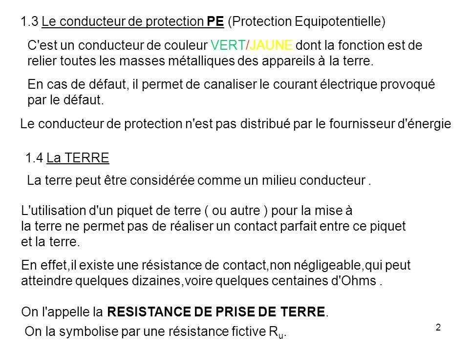 2 1.3 Le conducteur de protection PE (Protection Equipotentielle) C'est un conducteur de couleur VERT/JAUNE dont la fonction est de relier toutes les