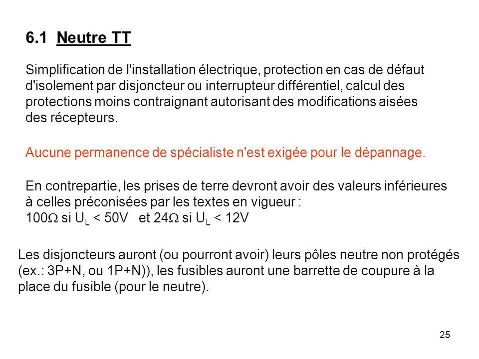 25 Simplification de l'installation électrique, protection en cas de défaut d'isolement par disjoncteur ou interrupteur différentiel, calcul des prote