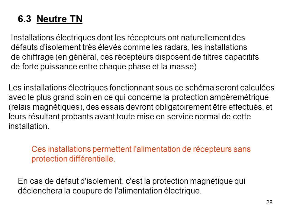 28 Installations électriques dont les récepteurs ont naturellement des défauts d'isolement très élevés comme les radars, les installations de chiffrag