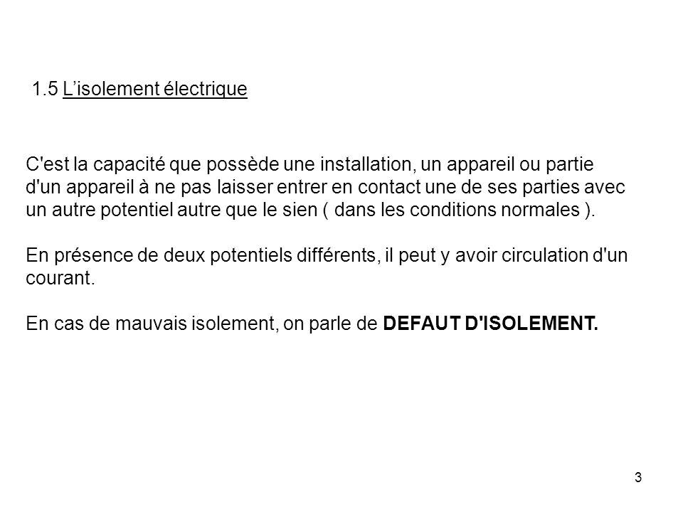 3 1.5 Lisolement électrique C'est la capacité que possède une installation, un appareil ou partie d'un appareil à ne pas laisser entrer en contact une