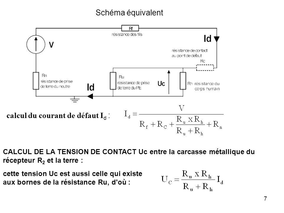 8 EXEMPLE : V = 230 V Rf = 0,1 Rc = 0 ( défaut franc ) Ru = 25 Rn = 18 Rh = 1 k La tension de contact U C est dangereuse pour les utilisateurs car Uc > tension conventionnelle de sécurité : 50 V en locaux secs et 12 V en locaux mouillés.