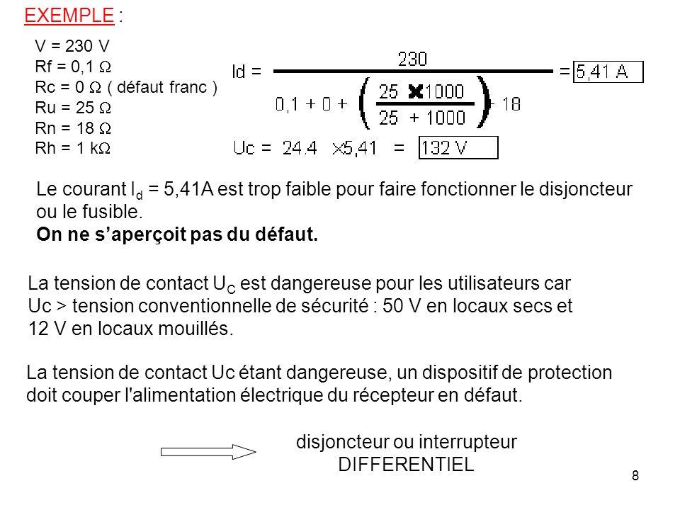 8 EXEMPLE : V = 230 V Rf = 0,1 Rc = 0 ( défaut franc ) Ru = 25 Rn = 18 Rh = 1 k La tension de contact U C est dangereuse pour les utilisateurs car Uc