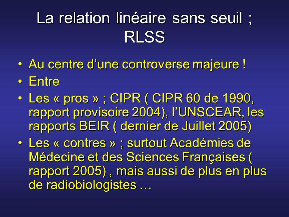 La relation linéaire sans seuil ; RLSS Au centre dune controverse majeure !Au centre dune controverse majeure ! EntreEntre Les « pros » ; CIPR ( CIPR