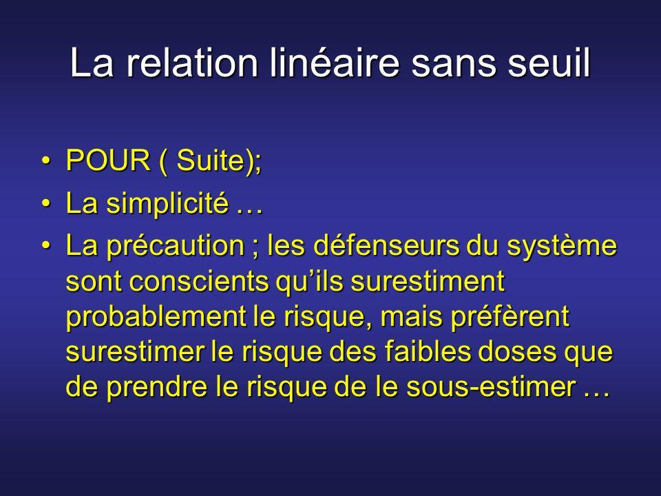 La relation linéaire sans seuil POUR ( Suite);POUR ( Suite); La simplicité …La simplicité … La précaution ; les défenseurs du système sont conscients