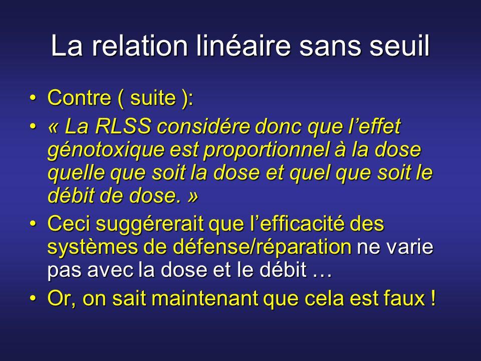 La relation linéaire sans seuil Contre ( suite ):Contre ( suite ): « La RLSS considére donc que leffet génotoxique est proportionnel à la dose quelle