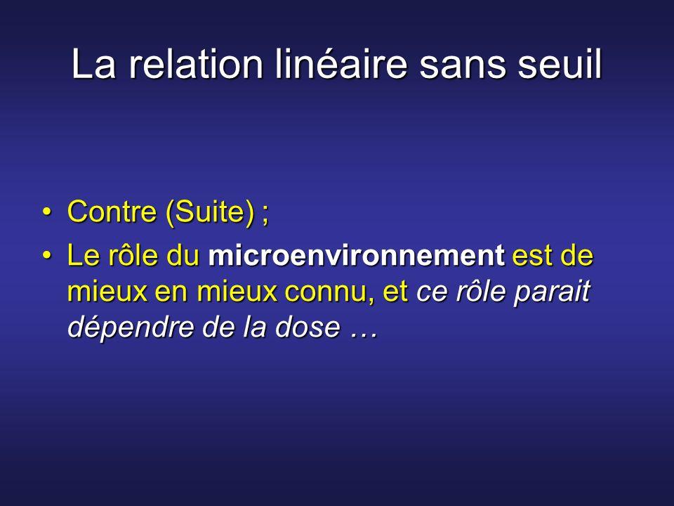 La relation linéaire sans seuil Contre (Suite) ;Contre (Suite) ; Le rôle du microenvironnement est de mieux en mieux connu, et ce rôle parait dépendre