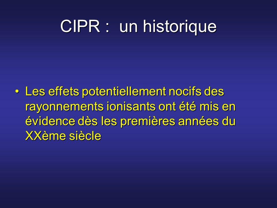 CIPR : un historique Les effets potentiellement nocifs des rayonnements ionisants ont été mis en évidence dès les premières années du XXème siècleLes