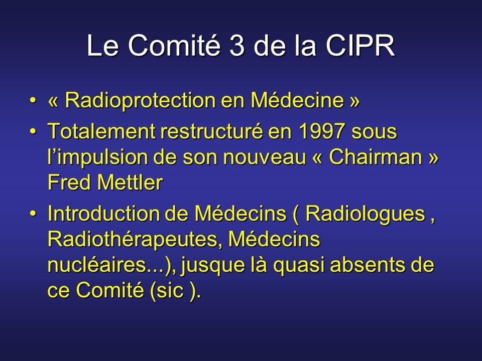 Le Comité 3 de la CIPR « Radioprotection en Médecine »« Radioprotection en Médecine » Totalement restructuré en 1997 sous limpulsion de son nouveau «
