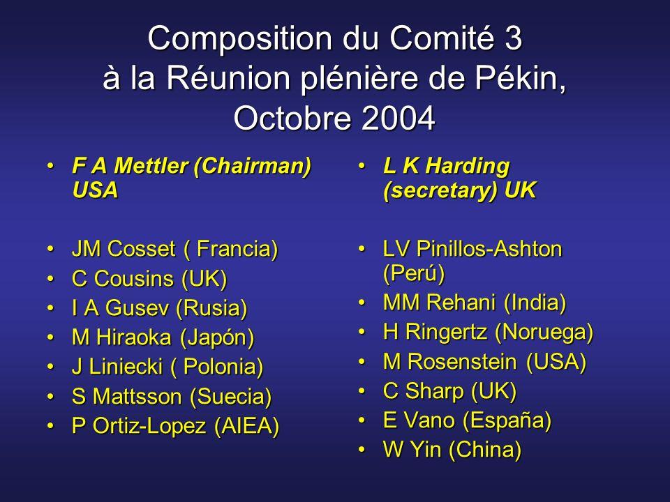 Composition du Comité 3 à la Réunion plénière de Pékin, Octobre 2004 F A Mettler (Chairman) USAF A Mettler (Chairman) USA JM Cosset ( Francia)JM Cosse
