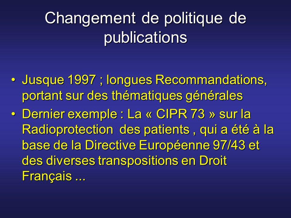 Changement de politique de publications Jusque 1997 ; longues Recommandations, portant sur des thématiques généralesJusque 1997 ; longues Recommandati