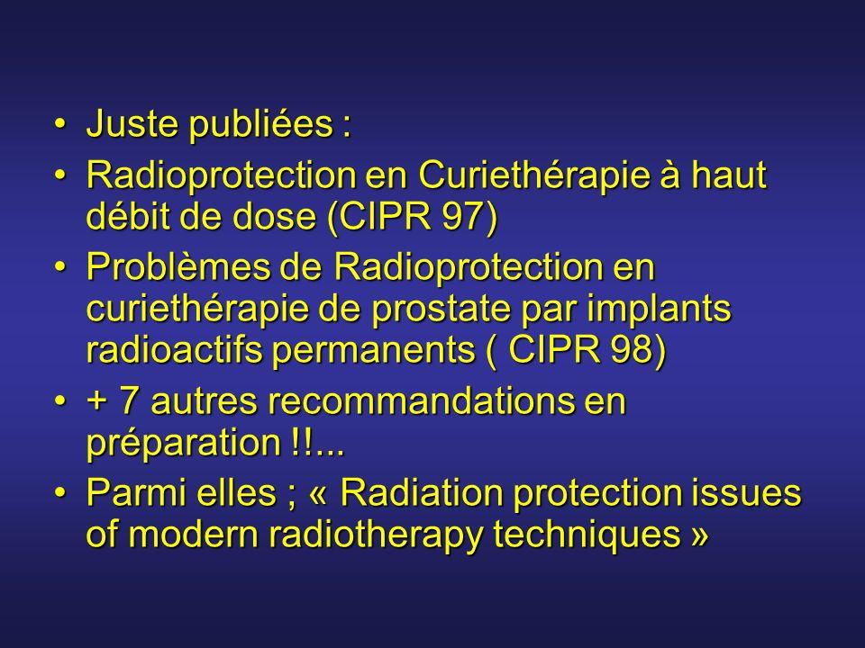 Juste publiées :Juste publiées : Radioprotection en Curiethérapie à haut débit de dose (CIPR 97)Radioprotection en Curiethérapie à haut débit de dose