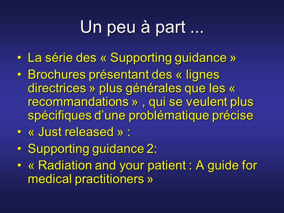 Un peu à part... La série des « Supporting guidance »La série des « Supporting guidance » Brochures présentant des « lignes directrices » plus général
