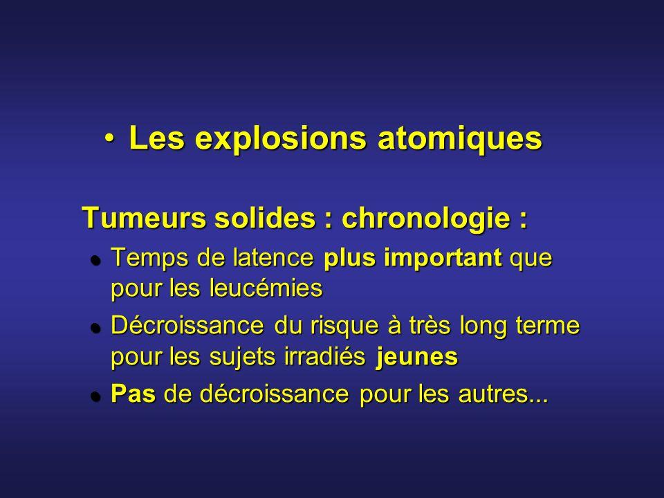 Les explosions atomiquesLes explosions atomiques Tumeurs solides : chronologie : Temps de latence plus important que pour les leucémies Temps de laten