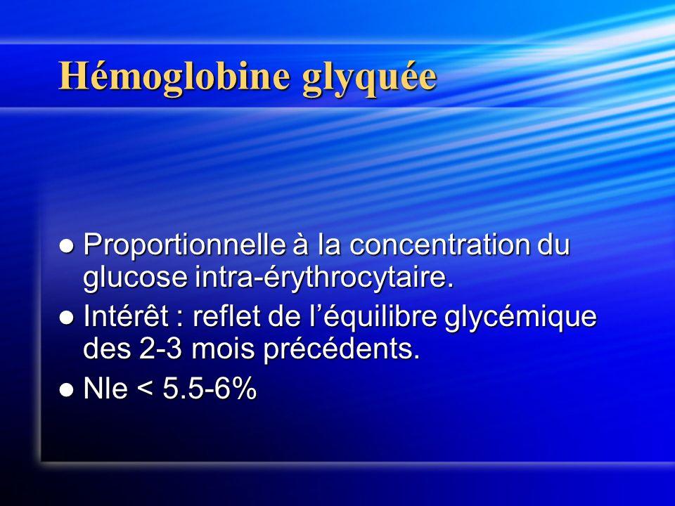 Hémoglobine glyquée Proportionnelle à la concentration du glucose intra-érythrocytaire. Proportionnelle à la concentration du glucose intra-érythrocyt