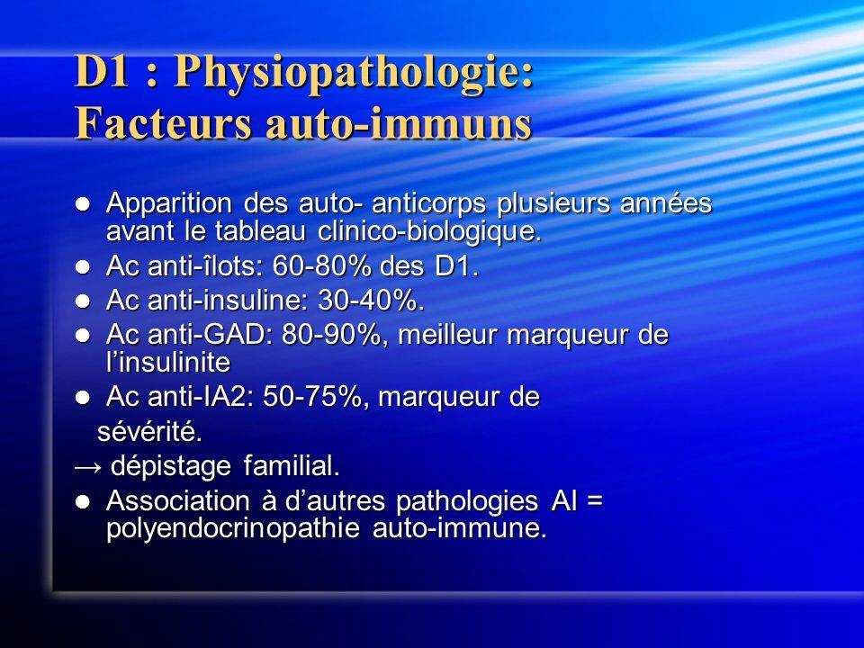 D1 : Physiopathologie: Facteurs auto-immuns Apparition des auto- anticorps plusieurs années avant le tableau clinico-biologique. Apparition des auto-