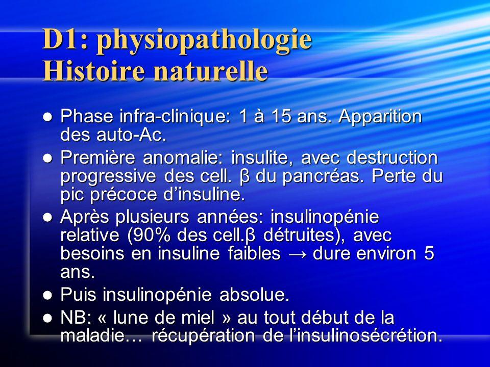D1: physiopathologie Histoire naturelle Phase infra-clinique: 1 à 15 ans. Apparition des auto-Ac. Phase infra-clinique: 1 à 15 ans. Apparition des aut