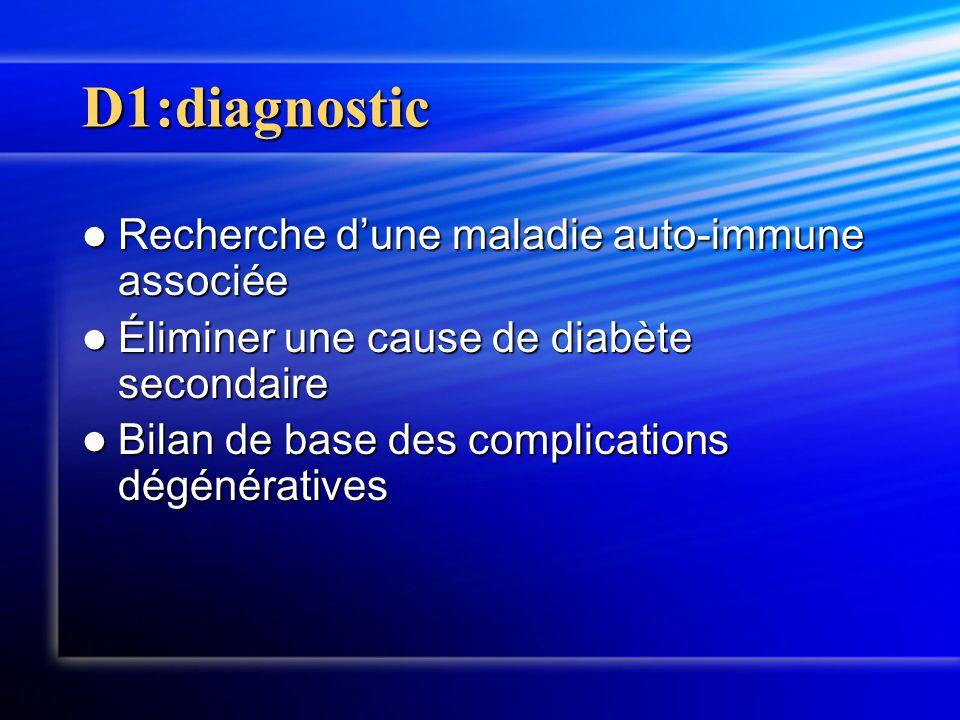 D1:diagnostic Recherche dune maladie auto-immune associée Recherche dune maladie auto-immune associée Éliminer une cause de diabète secondaire Élimine