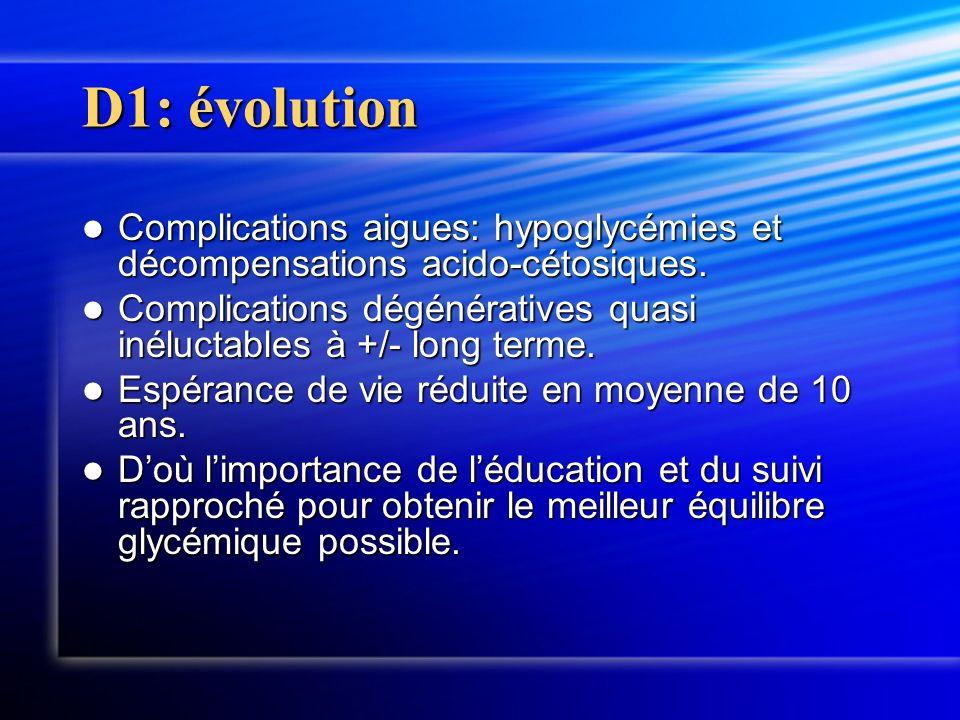 D1: évolution Complications aigues: hypoglycémies et décompensations acido-cétosiques. Complications aigues: hypoglycémies et décompensations acido-cé