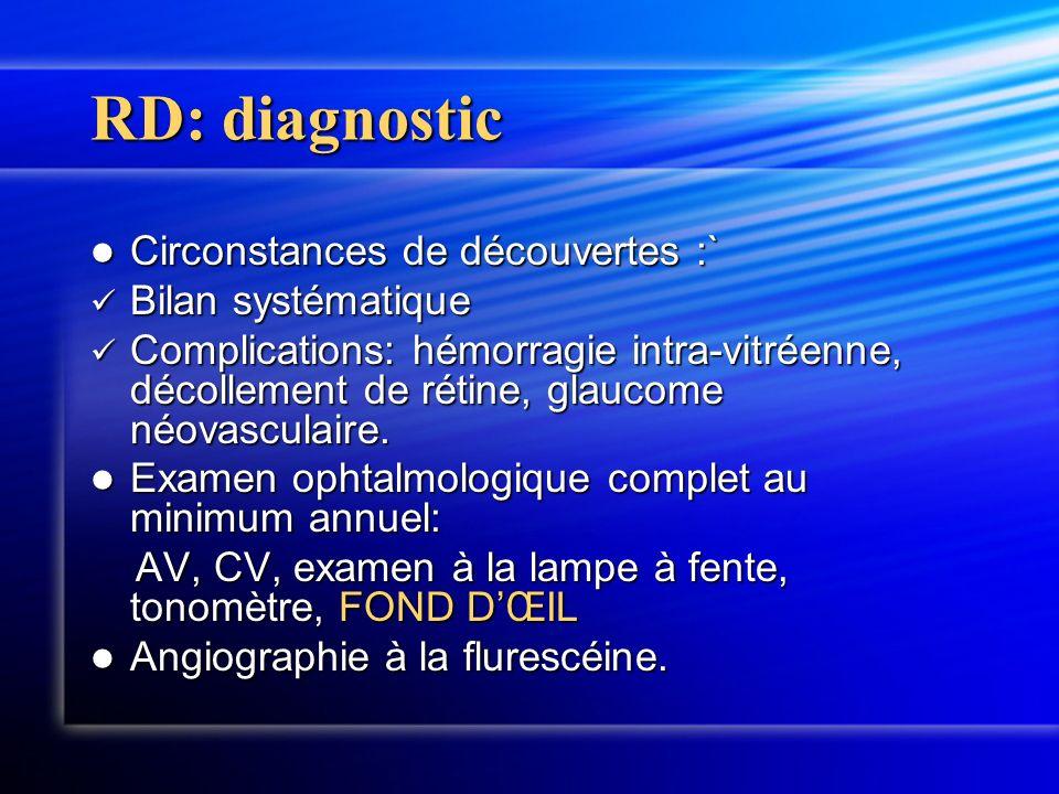 RD: diagnostic Circonstances de découvertes :` Circonstances de découvertes :` Bilan systématique Bilan systématique Complications: hémorragie intra-v