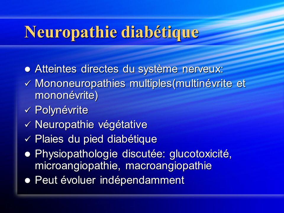 Neuropathie diabétique Atteintes directes du système nerveux: Atteintes directes du système nerveux: Mononeuropathies multiples(multinévrite et mononé
