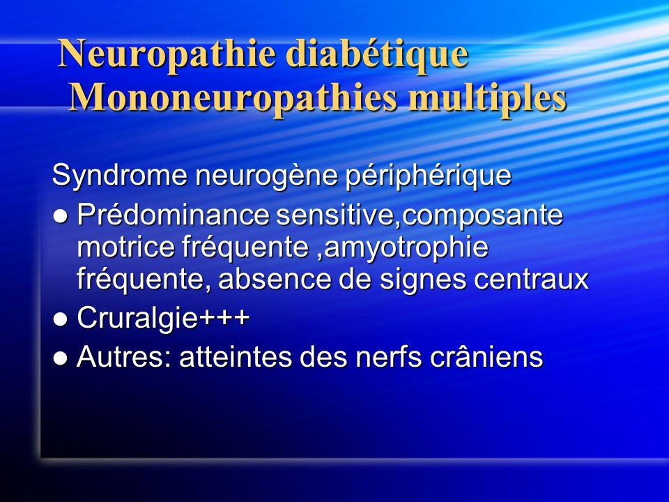 Neuropathie diabétique Mononeuropathies multiples Syndrome neurogène périphérique Prédominance sensitive,composante motrice fréquente,amyotrophie fréq