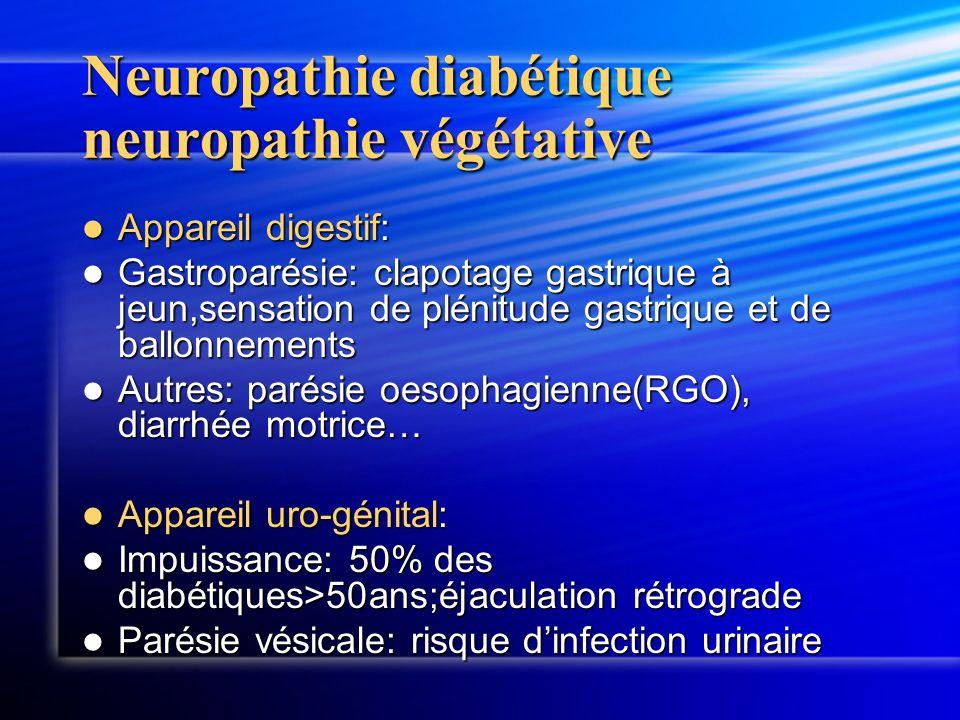 Neuropathie diabétique neuropathie végétative Appareil digestif: Appareil digestif: Gastroparésie: clapotage gastrique à jeun,sensation de plénitude g