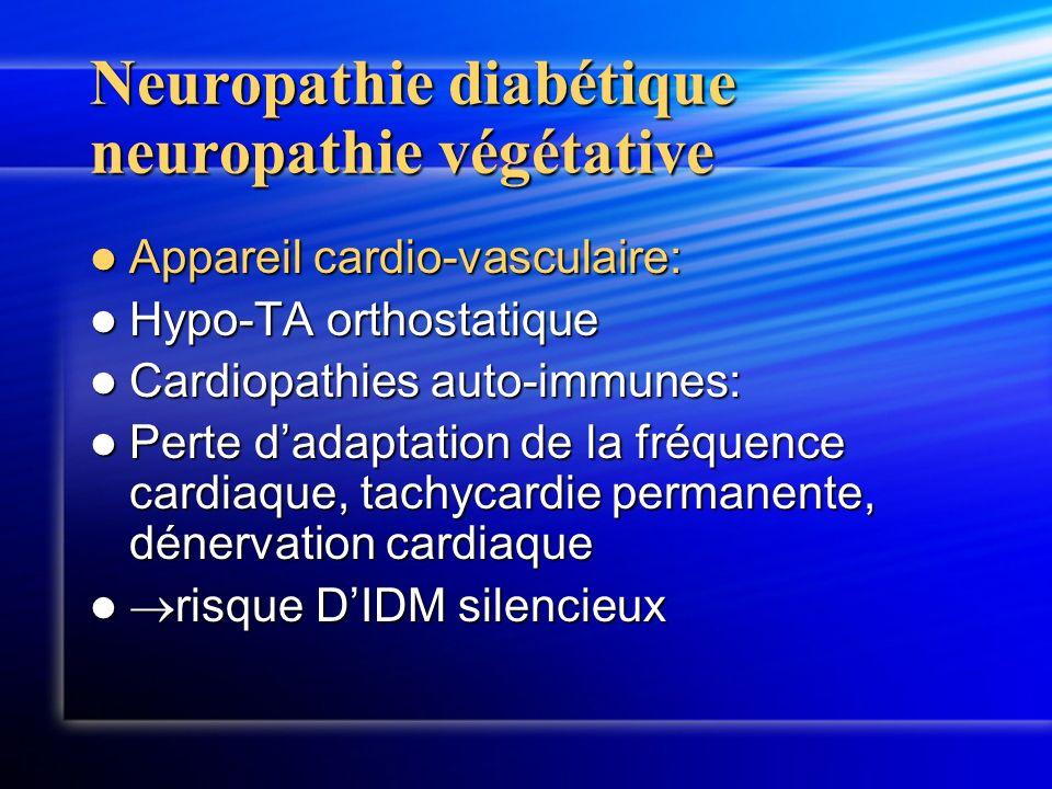 Neuropathie diabétique neuropathie végétative Appareil cardio-vasculaire: Appareil cardio-vasculaire: Hypo-TA orthostatique Hypo-TA orthostatique Card