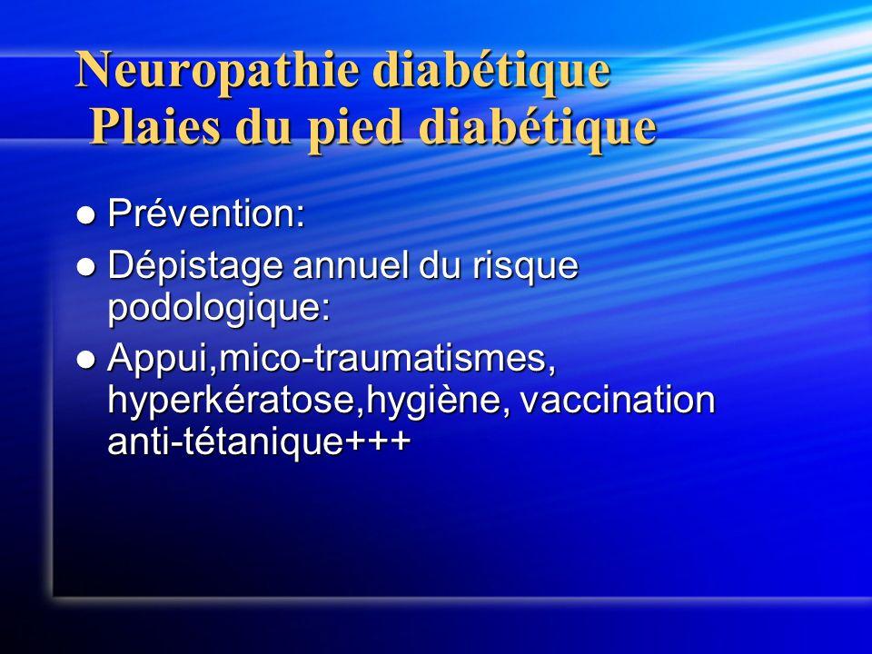 Neuropathie diabétique Plaies du pied diabétique Prévention: Prévention: Dépistage annuel du risque podologique: Dépistage annuel du risque podologiqu