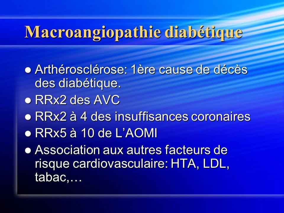 Macroangiopathie diabétique Arthérosclérose: 1ère cause de décès des diabétique. Arthérosclérose: 1ère cause de décès des diabétique. RRx2 des AVC RRx