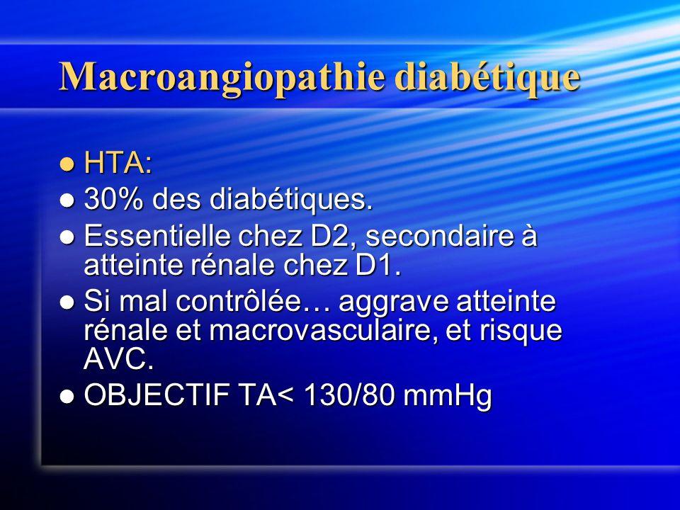 Macroangiopathie diabétique HTA: HTA: 30% des diabétiques. 30% des diabétiques. Essentielle chez D2, secondaire à atteinte rénale chez D1. Essentielle