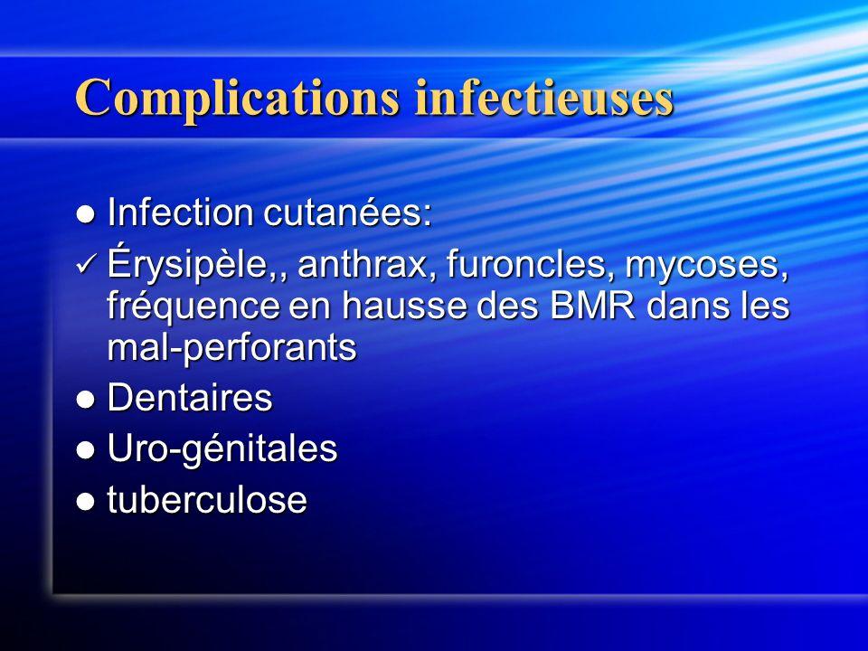 Complications infectieuses Infection cutanées: Infection cutanées: Érysipèle,, anthrax, furoncles, mycoses, fréquence en hausse des BMR dans les mal-p