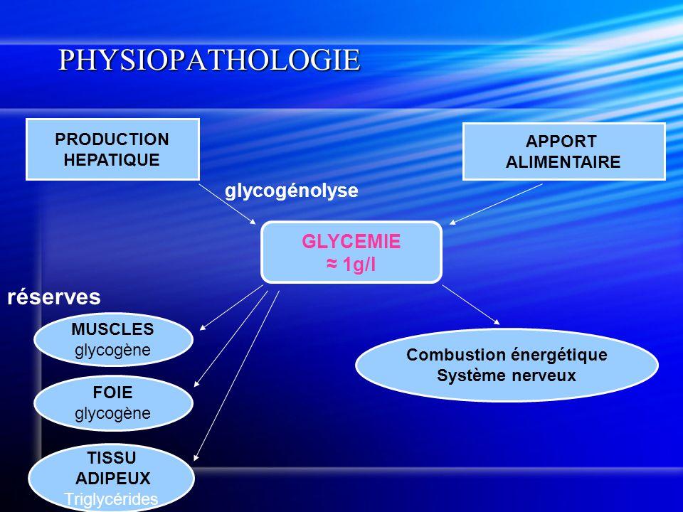 PHYSIOPATHOLOGIE GLYCEMIE 1g/l MUSCLES glycogène TISSU ADIPEUX Triglycérides glycogénolyse APPORT ALIMENTAIRE PRODUCTION HEPATIQUE FOIE glycogène Comb