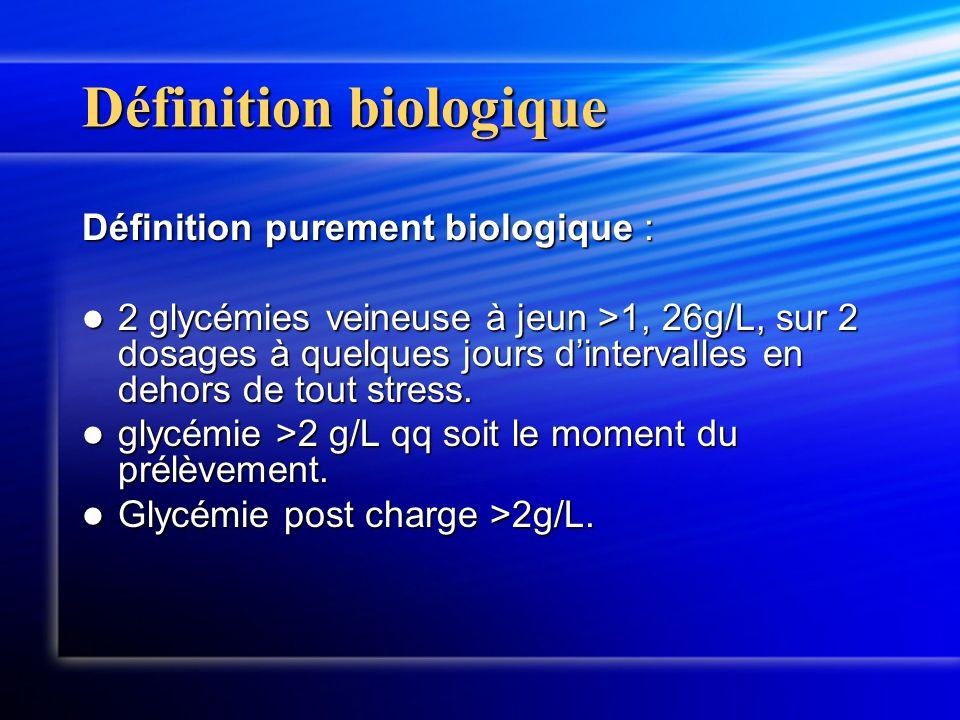 Définition biologique Définition purement biologique : 2 glycémies veineuse à jeun >1, 26g/L, sur 2 dosages à quelques jours dintervalles en dehors de