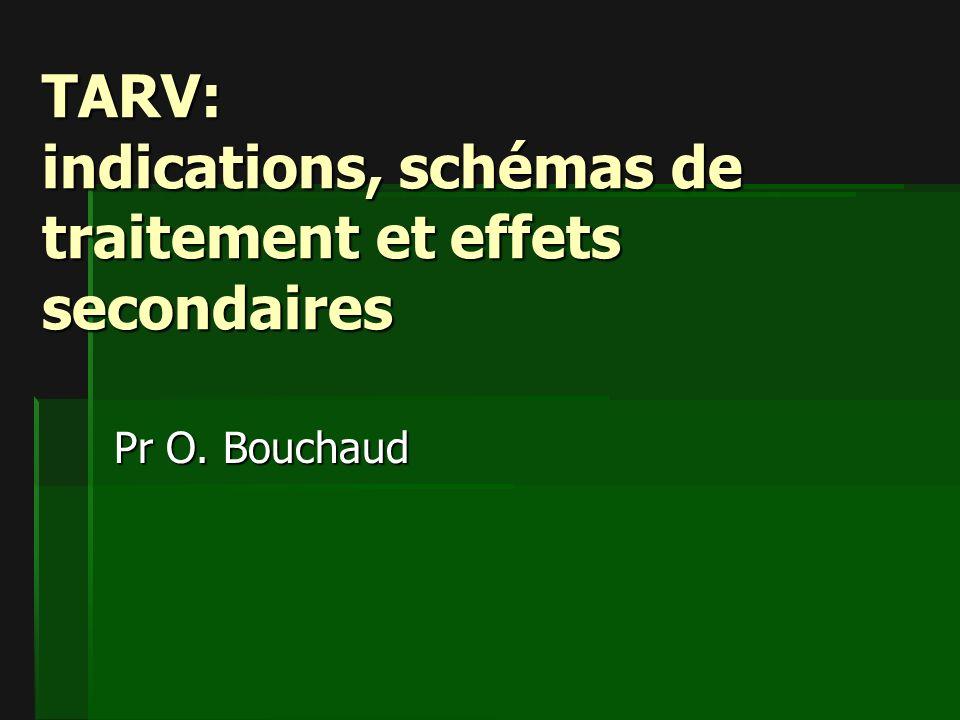 TARV: indications, schémas de traitement et effets secondaires Pr O. Bouchaud
