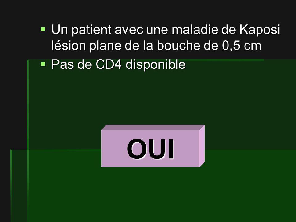 Un patient avec une maladie de Kaposi lésion plane de la bouche de 0,5 cm Un patient avec une maladie de Kaposi lésion plane de la bouche de 0,5 cm Pas de CD4 disponible Pas de CD4 disponible OUI