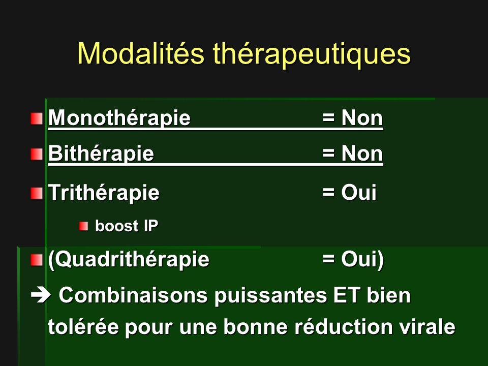 Modalités thérapeutiques Monothérapie= Non Bithérapie= Non Trithérapie= Oui boost IP boost IP (Quadrithérapie= Oui) Combinaisons puissantes ET bien tolérée pour une bonne réduction virale Combinaisons puissantes ET bien tolérée pour une bonne réduction virale