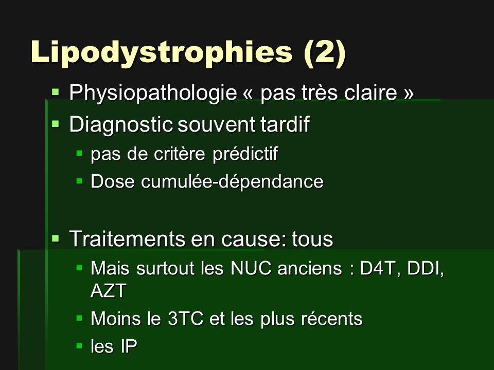 Lipodystrophies (2) Physiopathologie « pas très claire » Physiopathologie « pas très claire » Diagnostic souvent tardif Diagnostic souvent tardif pas de critère prédictif pas de critère prédictif Dose cumulée-dépendance Dose cumulée-dépendance Traitements en cause: tous Traitements en cause: tous Mais surtout les NUC anciens : D4T, DDI, AZT Mais surtout les NUC anciens : D4T, DDI, AZT Moins le 3TC et les plus récents Moins le 3TC et les plus récents les IP les IP