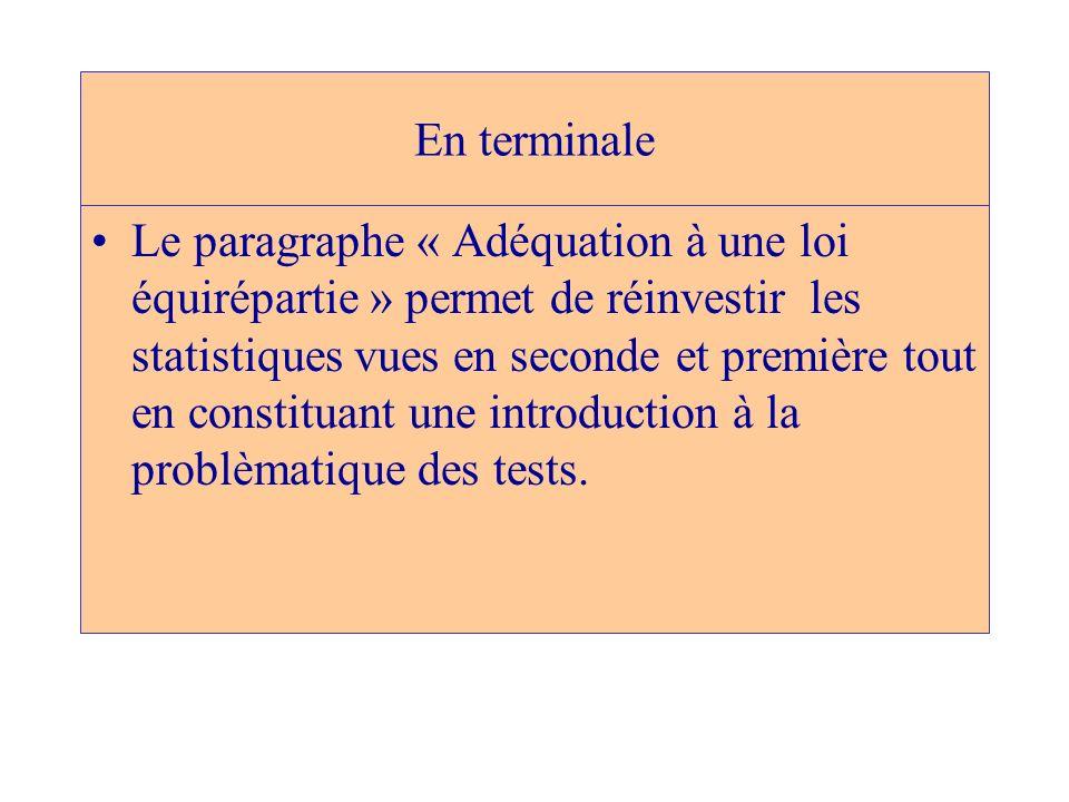 En terminale Le paragraphe « Adéquation à une loi équirépartie » permet de réinvestir les statistiques vues en seconde et première tout en constituant