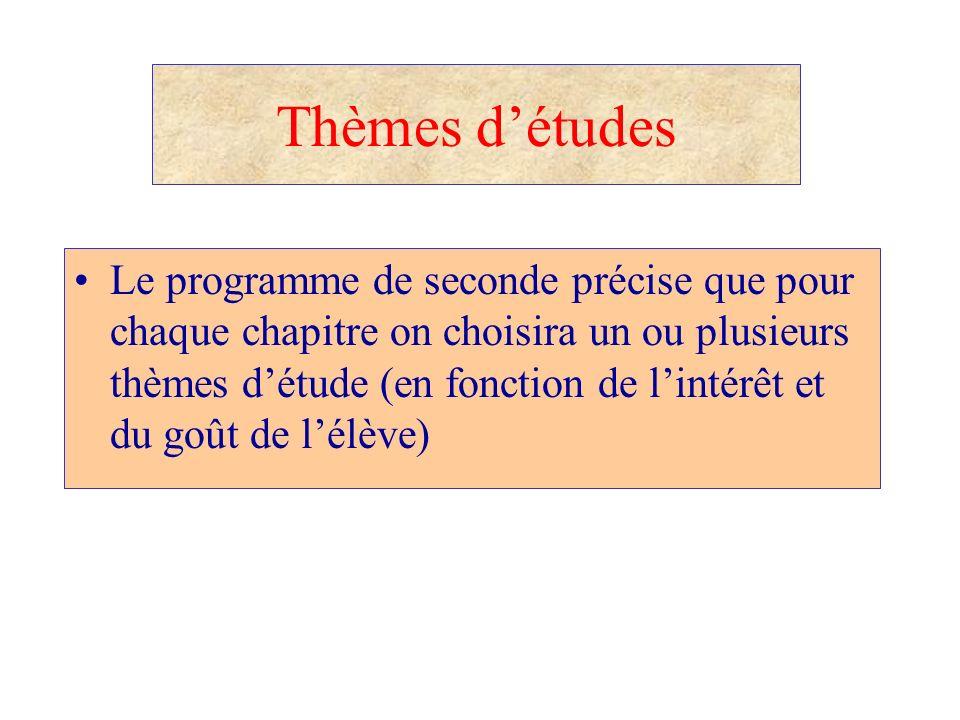 Thèmes détudes Le programme de seconde précise que pour chaque chapitre on choisira un ou plusieurs thèmes détude (en fonction de lintérêt et du goût
