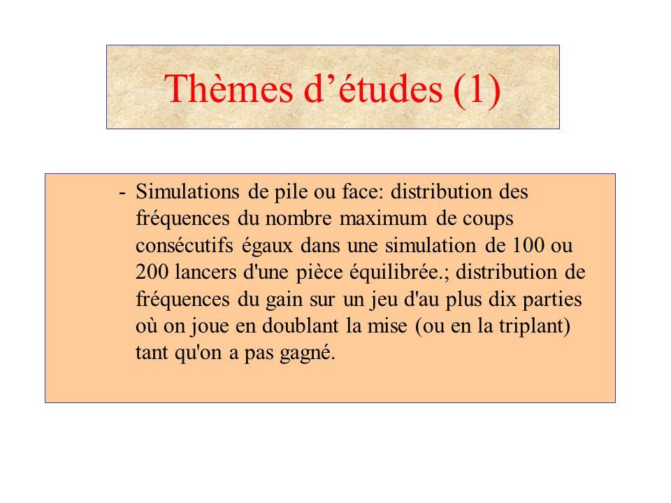 Thèmes détudes (1) -Simulations de pile ou face: distribution des fréquences du nombre maximum de coups consécutifs égaux dans une simulation de 100 o